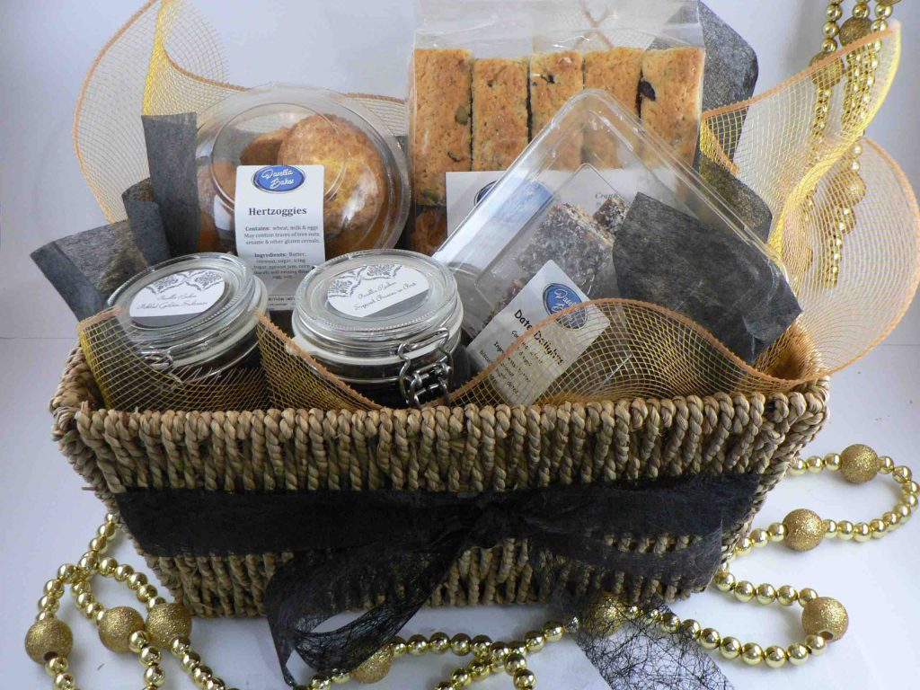 Gift hamper with snacks and treats